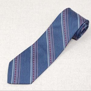 Vintage Denim Blue Tie w/ Stripes and Red Flowers